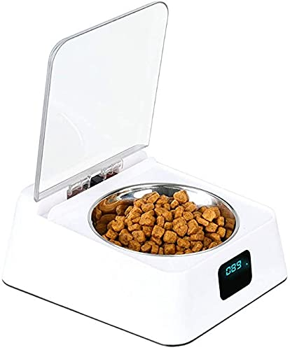 Automatic Pet Feeder with LCD Display, Pet Food Dispenser, Infrared Automatic Sensor Switch Cover, Moisture-proof Smart Bowl for Pet Cat and Dog (5L / White)