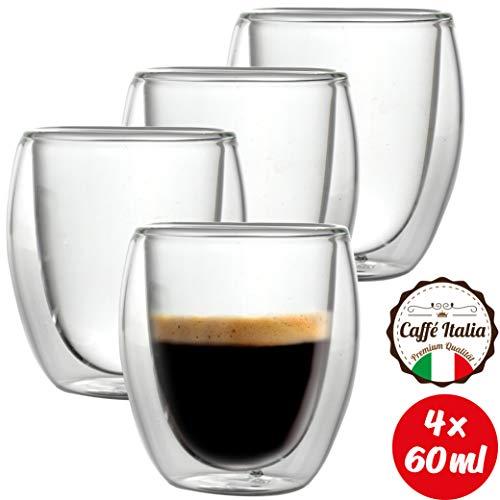 Caffé Italia Roma 4 x 60 ml Doppelwand-Thermo-Gläser - für Espresso Tee Heiß- und Kaltgetränke - spülmaschinengeeignet