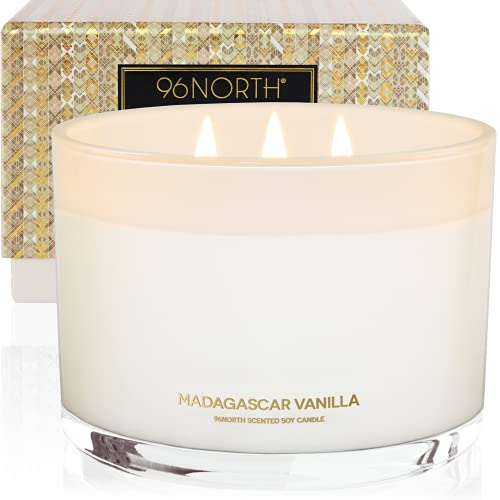 96NORTH Luxury Soy Vanilla Candles   Aesthetic Large 3 Wick   All Natural Long Lasting Candles for Home   Comfort Birthday Gifts for Women   Aromatherapy Scented Candles