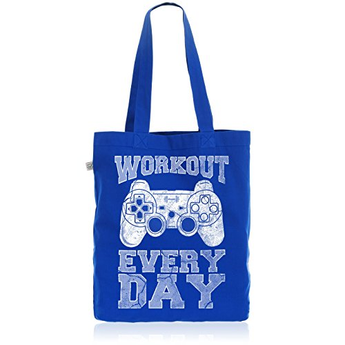 style3 Gamer Workout Biobaumwolle Beutel Jutebeutel Tasche Tote Bag play sport station controller ps game, Farbe:Blau
