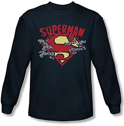 Superman - - La Chaîne Des Hommes manches longues T-shirt de coupure, Large, Navy