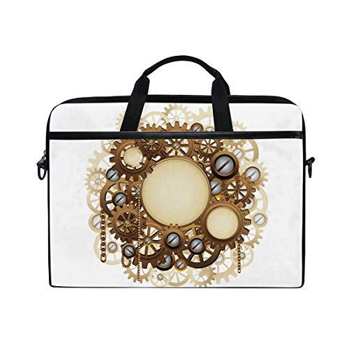 Ahomy 13,3-14 Zoll Laptop Tasche, Vintage Steampunk Portable Sleeve Aktentasche mit verstellbarem Schultergurt
