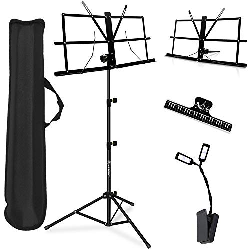 Music Stand, Kasonic 2 in 1 Dual-Use Folding Sheet Music Stand & Desktop Book Stand, Portable and Lightweight with LED Light/Music Sheet Clip Holder/Carrying Bag Suitable
