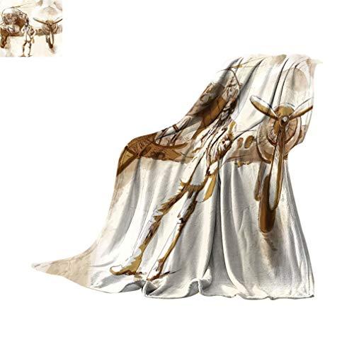 Manta de viaje de avión, diseño de acuarela de un piloto con su avión vuelo Aviación tema viaje viaje difusa franela manta para camping cama sofá, 60' x 127 cm, marrón beige