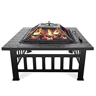Honganrunli Square Fire Pit Bowl with Spark Guard & Poker, Large Size Steel Anti-Rust Portable Controllable Flame Quick Assembly for Patio Backyard Beach Picnic Camping, 81x81x45cm?UK Direct? by Honganrunli