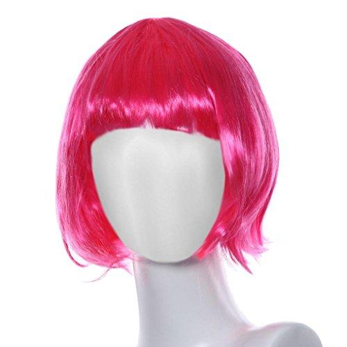 Perruque Femmes Toamen Tête d'onde de couleur Qi Liuhai Perruques Mascarade Petit rouleau Des cheveux court et lisse (Rose)