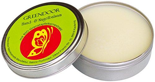 Greendoor HAND-BALSAM Handcreme für trockene Haut, BIO Granatapfel, natürlich ohne Tierversuche, Naturkosmetik ohne Mineralöl/Parabene, 4-fache Ergiebigkeit vs Creme, Nagelbalsam mit Avocadoöl