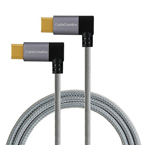 Right Angle USB C to USB C Cable 60W 3A Fast Charge, CableCreation 4ft Dual 90 Degree USB-C to USB-C Braided Cable, Compatible with MacBook(Pro), Galaxy S10 S9 S8, Pixel 2 3 XL, Space Gray Aluminum