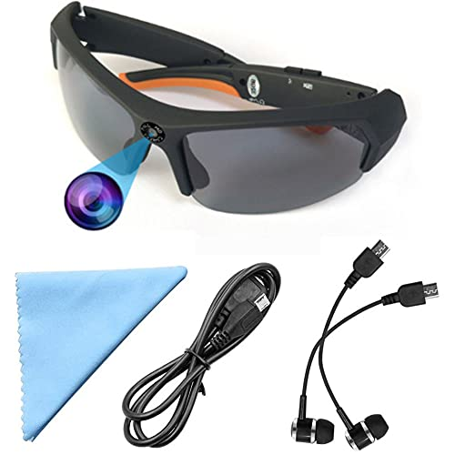Bluetooth Sunglasses Camera Full HD 1080P Wearable Glasses Camera with Headset,UV Protection Polarized Lens Video Recorder Sport Design for Men Riding,Motorcycle,Traveling, Built in 32GB Memory Card