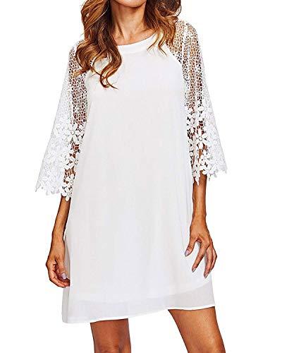 ZANZEA Women Chiffon Tunic Dress Summer Casual Crewneck Crochet Lace Half Sleeve Loose Shift Dress Party Mini Short Dress White XL