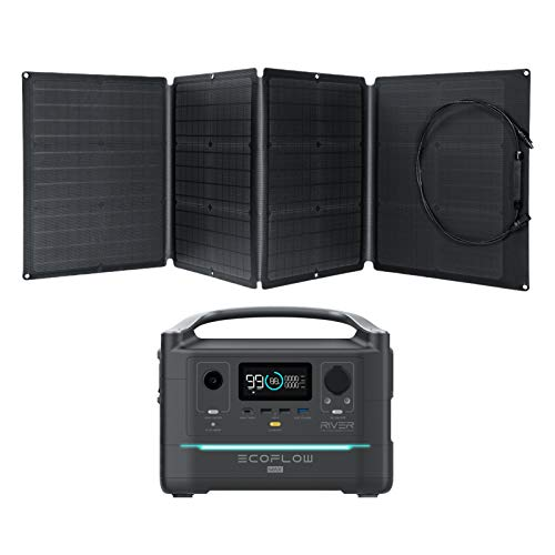 EF ECOFLOW Portable Power Station RIVER Max 576Wh with 110W Solar Panel, 3 600W (Peak 1200W) AC Outlets, Solar Generator for Outdoors Camping RV Hunting Emergency
