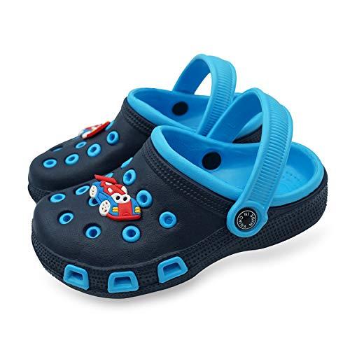 ETERNITY J. Kid's Cute Clog Cartoon Slide Sandals Garden Slip On Water Shoes Children Slide Beach Pool Shower Slippers Mules for Toddlers Boys Girls Dark Blue