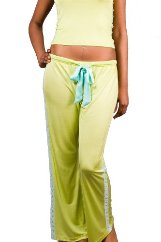 Lace Pants - 100% Silk Knit - Green with Blue Lace