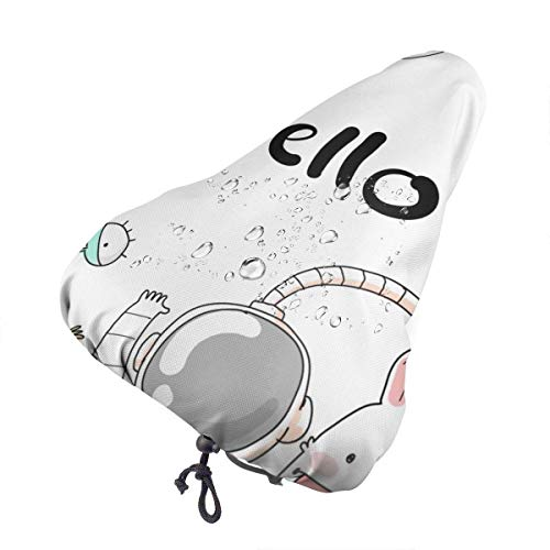 GOSMAO Funda de cojín para Bicicleta Bicicleta de montaña Hello Astronaut Rocket Impermeable Confort Asiento de Bicicleta de Silicona Suave Ciclismo al Aire Libre