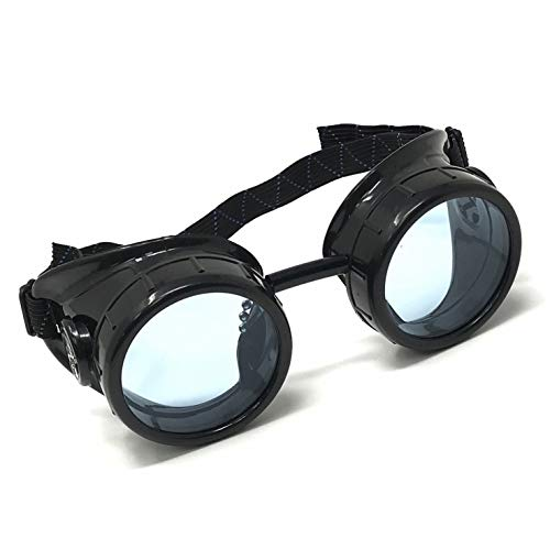 Steampunk Mad Scientist Goggles Rave Glasses Costume Eye Protection Goggles Welding Style Neon Blue