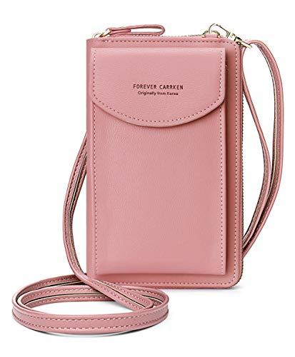 VEVESMUNDO Damen Handy Schultertasche Klein Mini Umhängetasche Crossbody PU Leder Brieftasche Geldbeutel Handytasche Geldbörse zum Umhängen mit Kartenfächer (Typ B - Lila)
