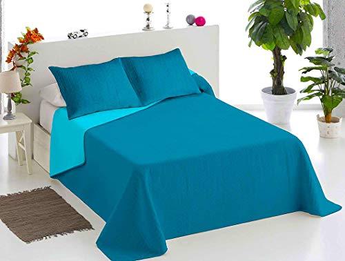 BENENETTAHOME Colcha bouti Lisa Bicolor Reversible. Cama 90. Azul-Turquesa.