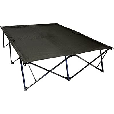 Double Kwik Tent Cot 550 lbs Sleeping Surface Camping 2 People nickel Black