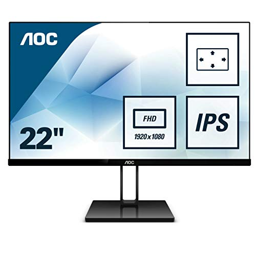 AOC 22V2Q 54,6 cm (21,5 Zoll) Monitor (HDMI, Displayport, Free-Sync, 1920 x 1080, 75 Hz) schwarz