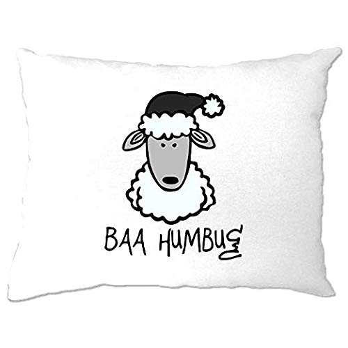 Funda de almohada de Navidad para dormitorio, antiNavidad, Baa Humbug Sheep Pun Joke Festive Believe Santa Claus, campanas de trineo y reno, regalo divertido, funda de almohada de 30,5 x 40,6 cm para decoración del hogar