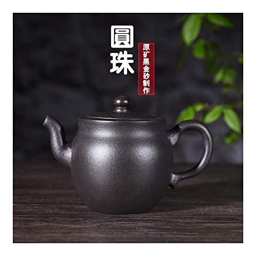 Teapot Black Tea Ball Gold Sand Tea cup Teapot 290 Ml TongLingUSL (Color : Black)