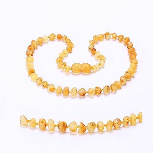 DAQUANTOU Collares, Collares para Mujer Collar de Dentición Pulsera para Bebé Paquete Simple Probado en Laboratorio Cognacraw Auténtico,Lemonraw