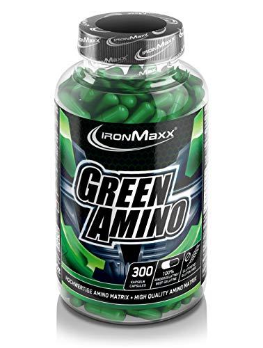 IronMaxx Green Amino - 300 Kapseln - Aminosäuren / Proteinpulver in Kapselform - Sehr hohe Konzentration - Über 3,5g freie enzymatisch vorgespaltene Aminosäuren pro Portion - Designed in Germany