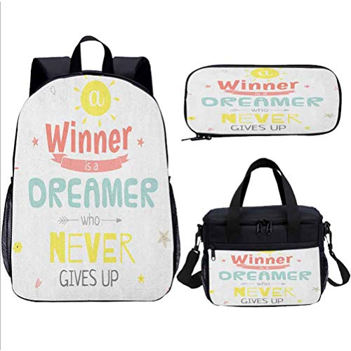 Girl SchoolBag Set, Quote, with Lunch Bags Purse, 17 inch