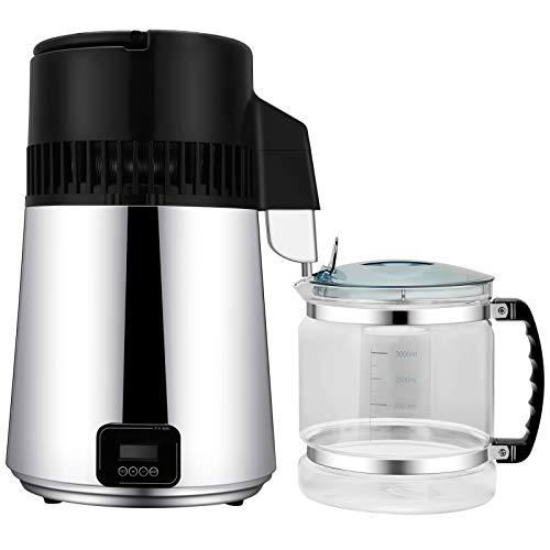 Kacsoo Máquina destiladora de agua de acero inoxidable de 4 L, máquina de destilación de agua pura, maceta y recipiente para hacer agua limpia y aceites esenciales para el hogar