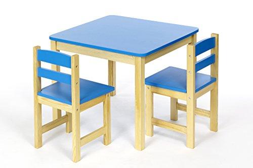 ts-ideen Tavolo 2 Sedie per Bambini Set Legno Azzurro Blu