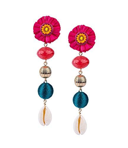SIX Damen Ohrringe mit floralem Stecker aus Papier mit bunten Perlen verziert, Muscheln, Perlen, bunt (784-685)