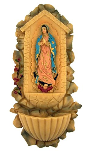 Our Lady of Guadalupe Virgin Mary Icon Resin Holy Water Font, 10 Inch