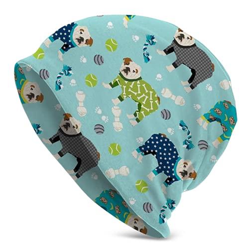 Gong Pijama Bulldog Inglés Dog40 Sombrero de punto para hombre, gorro unisex para adultos, gorra, pasamontañas