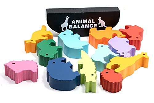 Amrgot Wooden Game Balance Stacking Games,Wooden Dinosaur Stacking Toy for Kids,Best Holidays Birthday Gift for Kids Age 3 Years