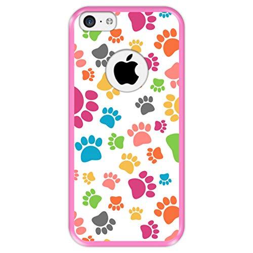 Hapdey Funda Rosa para [ Apple iPhone 5C ] diseño [ Patrón de Pata de Perro Colorido ] Carcasa Silicona Flexible TPU
