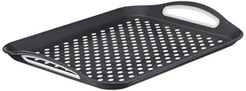 1 x rectangular non-slip serving calm and black or white colour at random - 40.5 x 28.5 cm - ideal for meal/dinner/drinks