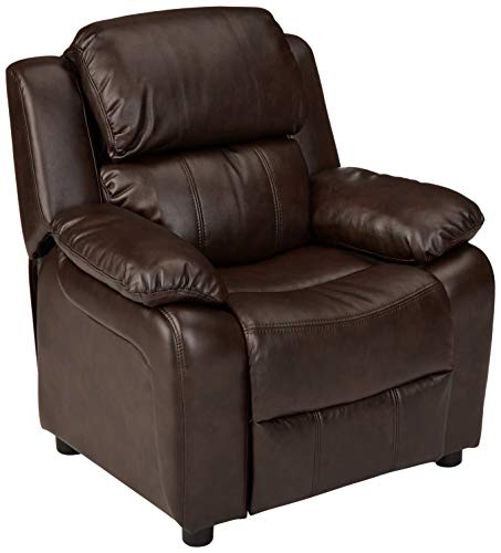 Amazon Basics Faux Leather Kids/Youth Recliner with Armrest Storage, 3+ Age Group, Brown
