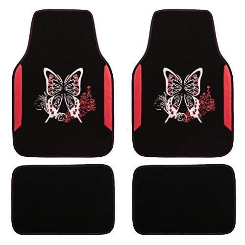 CAR PASS Universal Fit Car Floor Mats Butterfly Flower for Women Girls Car Truck SUV Van's(Black and Red)