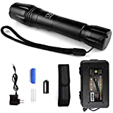 Gold Armour Flashlight - High Lumens Rechargeable Flashlights, Flashlight Holster and Rechargeable Battery Included, LED Water Resistant Light for Kids Adults Emergencies (6.5 Inches Tall)