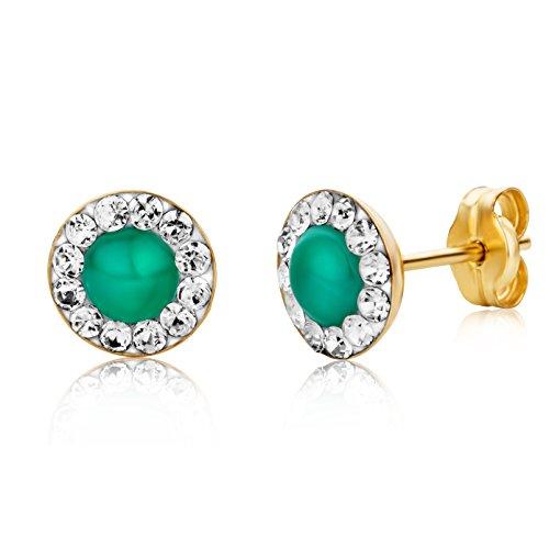Miore Orecchini Donna Piccoli a Lobo Smeraldo con Swarovski Oro Giallo 9 Kt / 375