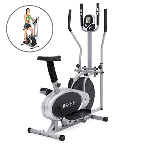 Best Choice Products 2-in-1 Elliptical Trainer Exercise Fitness Bike w/LCD Display, Tension Knob, Adjustable Seat