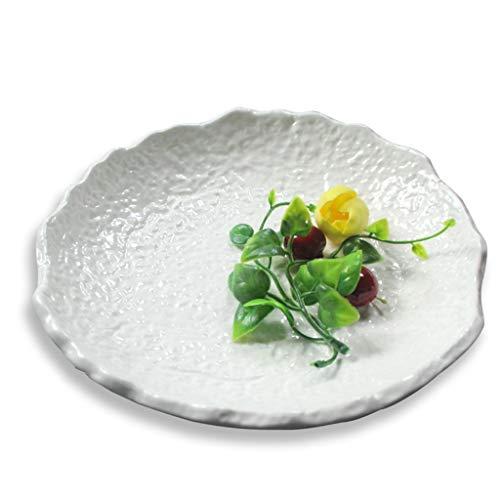 Dessertteller Weiße Platte Teller Western Restaurant Steak Teller schöne Platte Frühstück Mittagsteller japanische Keramikplatte Kochplatte (Color : Weiß, Size : 29cm*6cm)