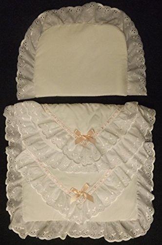Coach Built PRAM Bedding Set for Silver Cross Dolls Oberon Chatsworth Pink Blossom