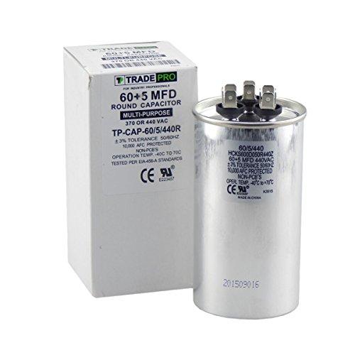 TradePro 60/5 MFD 370/440 Volt Round Dual Run Capacitor
