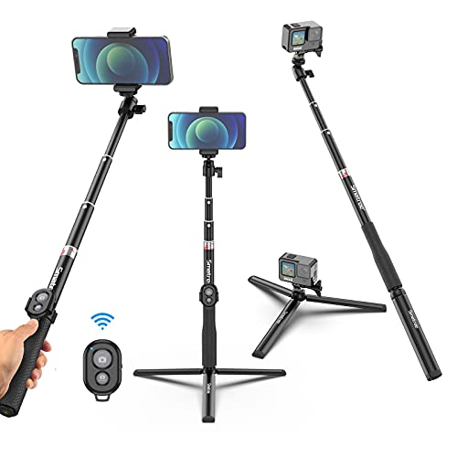 Smatree Phone Tripod, 36.6 inch Extendable Selfie Stick Tripod with Wireless Bluetooth Remote Compatible with iPhone 12 11 pro Xs Max Xr X 8Plus 7/ Samsung Galaxy S20 S10 S9/ GoPro Hero 9/8/7/6/5