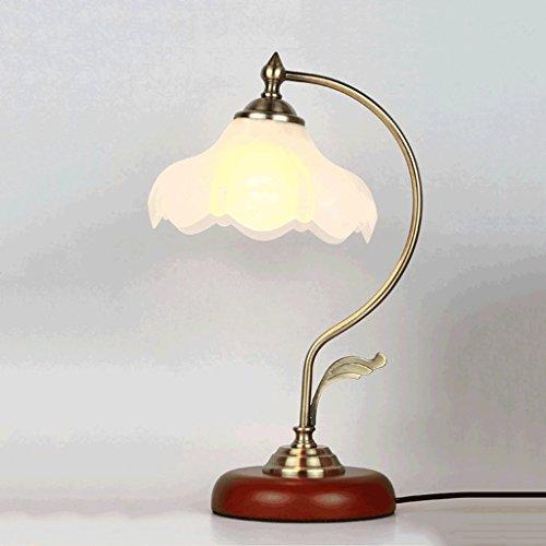 PIAOLING Lampe de lit de style rétro de style européen, lampe de table à LED d'économie d'énergie, lampe de table en verre de décoration de jardin simple
