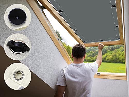 AULIVB Sonnenschutzfolie Dachfenster60x210cm mit Saugnäpfen, Thermo-Rollo Außenrollo Sonnenschutz für Velux Oberlichter -Dunkelgrau