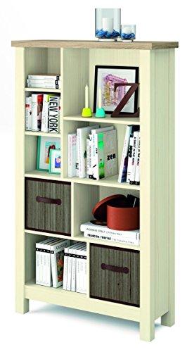 Mueble librería Artik en colores cambrian y pino con dos cestas de bambú incluidas con 160cm de alto, 90cm de ancho y 36cm de profundo