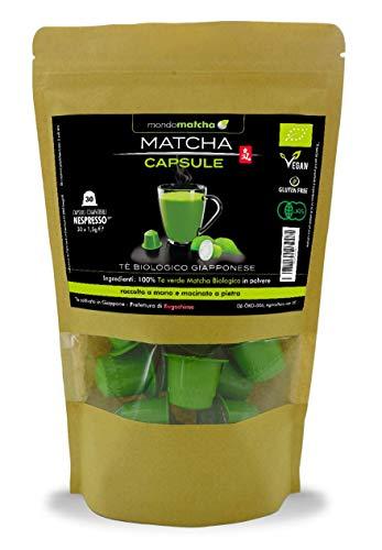 Tè Verde Matcha Biologico Giapponese - confezione da 30 Capsule Compatibili Nespresso®*, raccolto a mano, macinato a pietra – 100% puro e naturale - mondomatcha