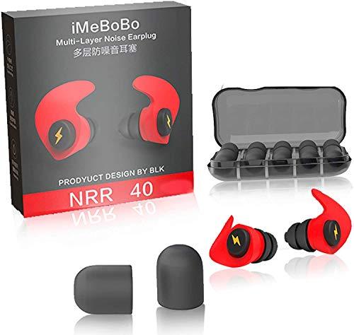 Tapones para los oídos con forma especial, a prueba de ruido, protección auditiva cómoda para tiro, viajes, natación, dormir, trabajo y conciertos, color rojo (RED)
